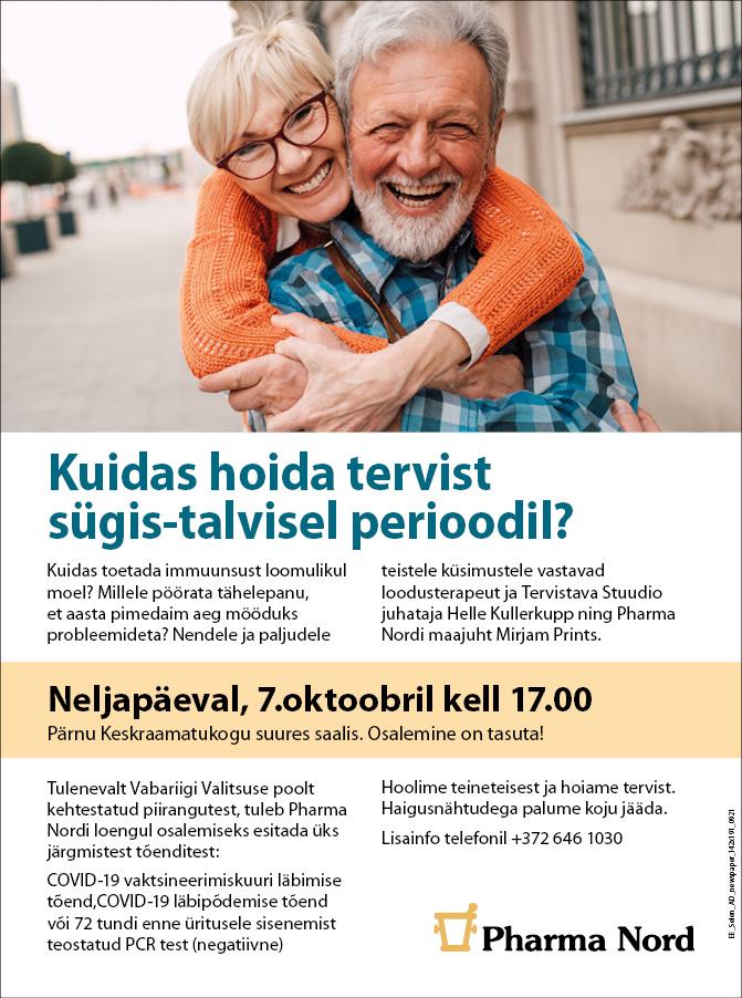 Kutsume Pärnu raamatukokku tasuta terviseloengule 07.10 kell 17:00!